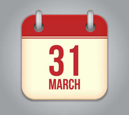 Vector calendar app icon. 31 March Vector