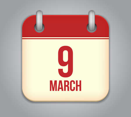Vector calendar app icon. 9 March Vector