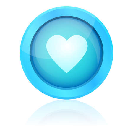 Blue vector heart button Vector