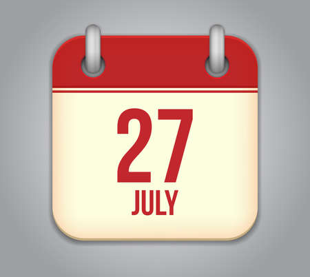 Vector calendar app icon 27 july Stock Vector - 20724757