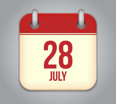 Vector calendar app icon 28 july