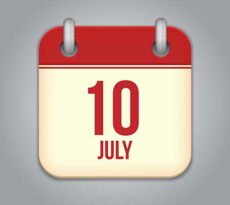 Vector calendar app icon 10 july Stock Vector - 20724769