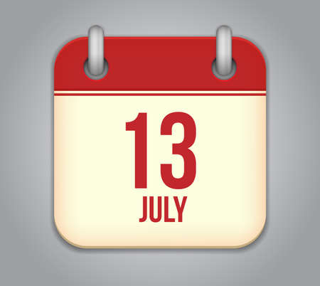 Vector calendar app icon 13 july Vector
