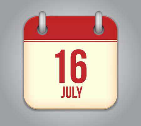 16: Vector calendar app icon 16 july