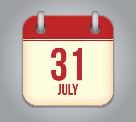 Vector calendar app icon 31 july Vector