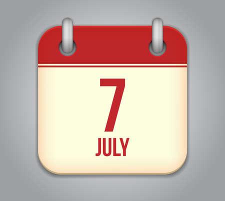 Vector calendar app icon 7 july Stock Vector - 20724831