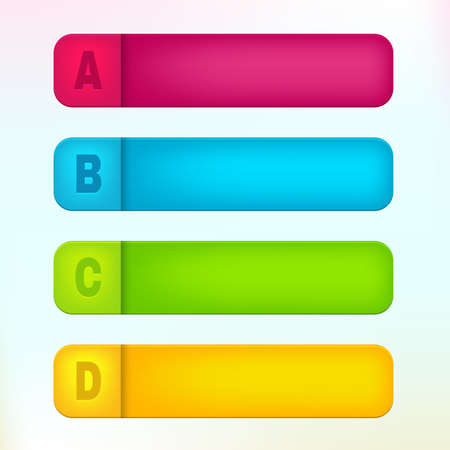 Vector paper labels with letters A, B, C, D Vector