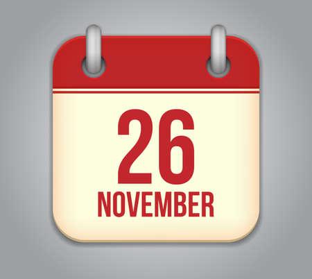 twenty six: Vector November calendar app icon