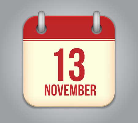 Vector November calendar app icon Vector