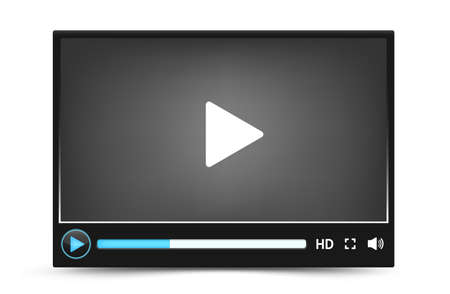 video: Dark skin vector video player interface