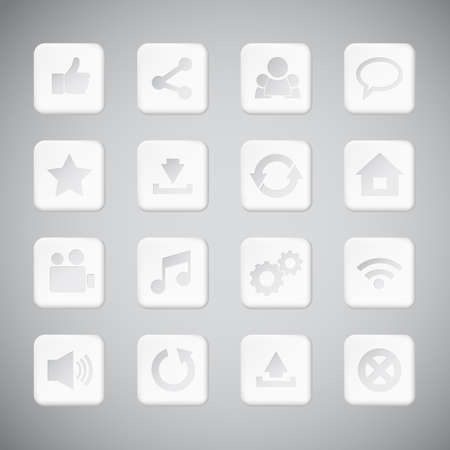 Set of white plastic technology app icons Stock Vector - 21126187