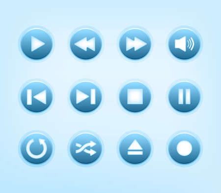 Set of round blue audio player buttons Vector