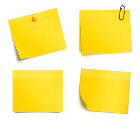 sticky note: Vector yellow notice stickers on white background