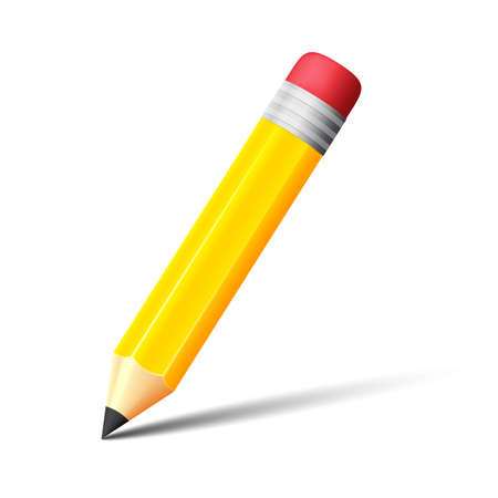 Yellow pencil with eraser vector icon Vector