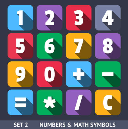 Numbers and Mathematic Symbols. Vector Icons With Long Shadow Set 2 Illustration