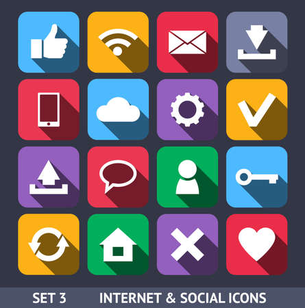 Internet and Social Vector Icons With Long Shadow Set 3 Çizim