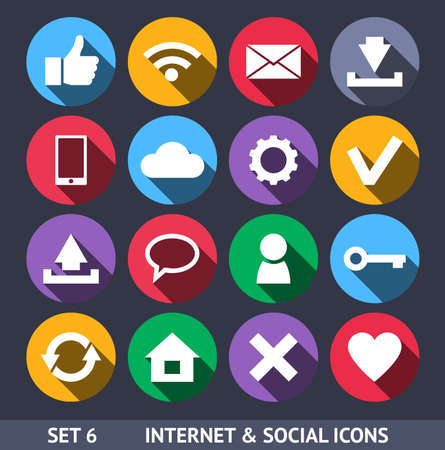 like button: Internet and Social Vector Icons With Long Shadow Set 6 Illustration