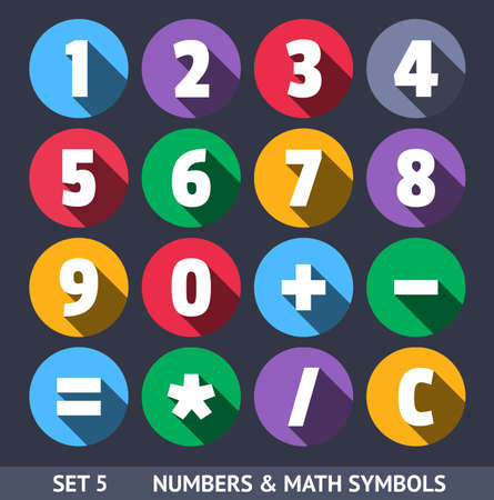 sums: Numbers and Mathematical Symbols. Vector Icons With Long Shadow Set 5