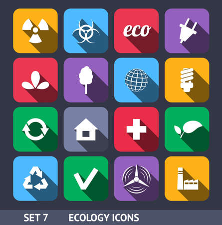 Ecology Vector Icons With Long Shadow Set 7 Vector