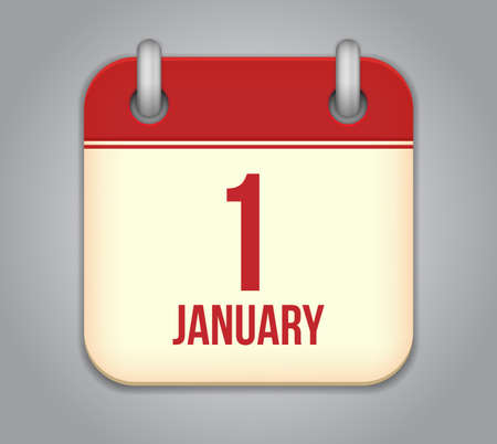 1 january: Vector calendar app icon. 1 January Illustration