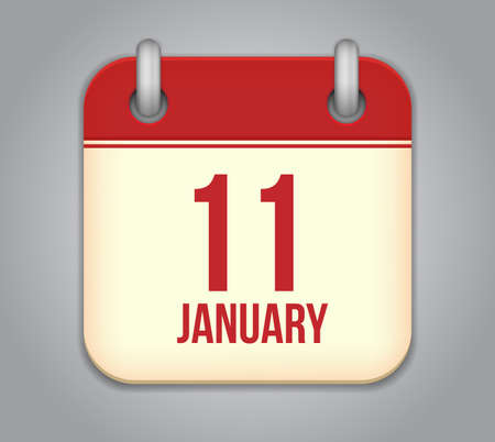 eleventh: Vector calendar app icon. 11 January