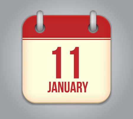 Vector calendar app icon. 11 January