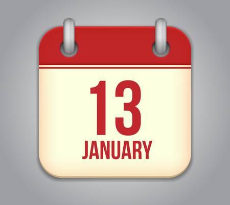 Vector calendar app icon. 13 January Vector