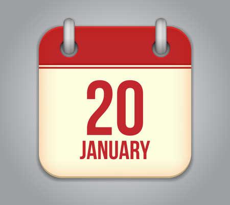 Vector calendar app icon. 20 January Illustration