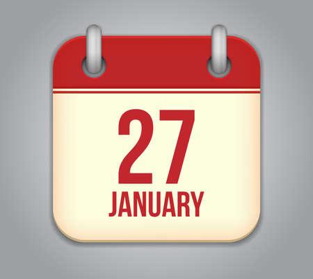 Vector calendar app icon. 27 January Stock Vector - 21634093