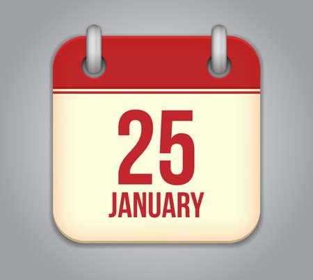 Vector calendar app icon. 25 January
