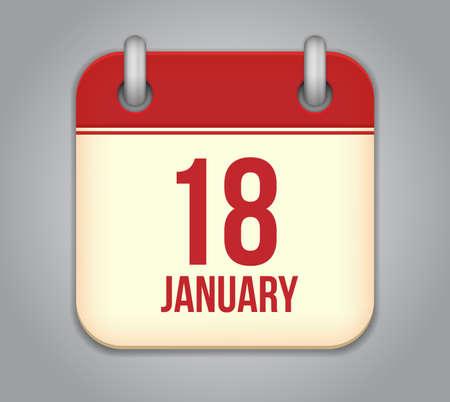 Vector calendar app icon. 18 January