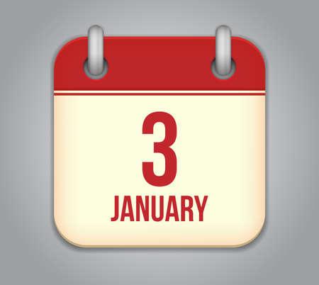 Vector calendar app icon. 3 January