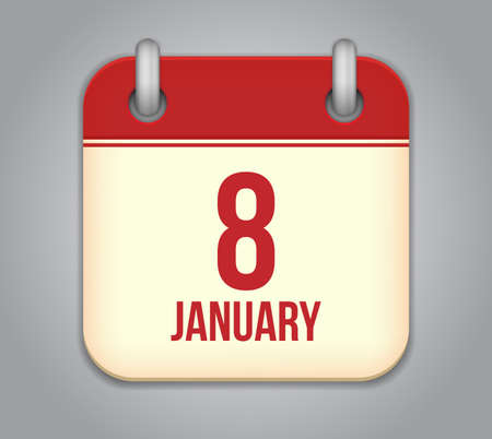 Vector calendar app icon. 8 January