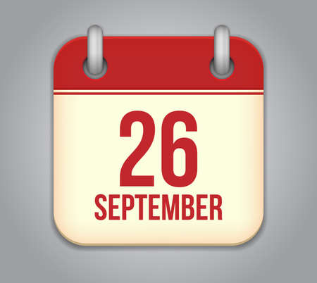 twenty six: Vector calendar app icon. 26 september