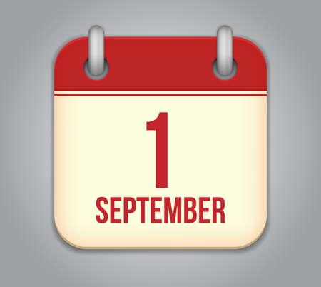 Vector calendar app icon. 1 september Illustration
