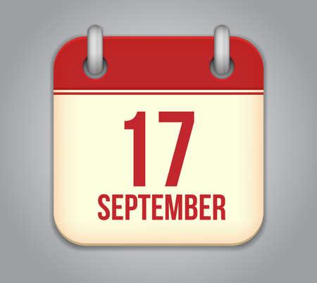 seventeen: Vector calendar app icon. 17 september Illustration