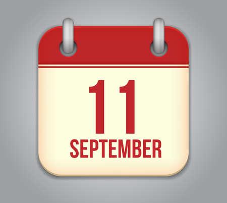 11 september: Vector calendar icon aplicaci�n. 11 de septiembre