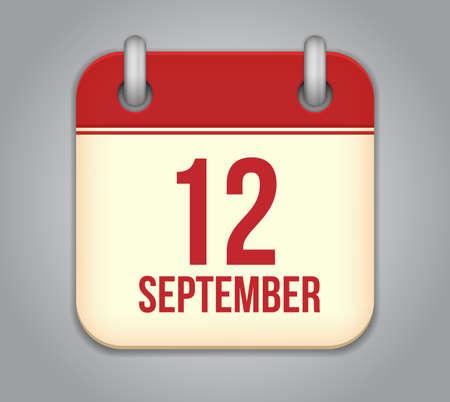 calendario septiembre: Vector calendar icon aplicaci�n. 12 de septiembre