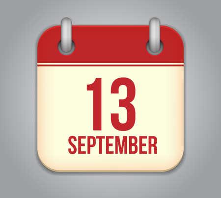 Vector calendar app icon. 13 september Vector