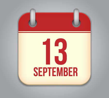 thirteen: Vector calendar app icon. 13 september Illustration