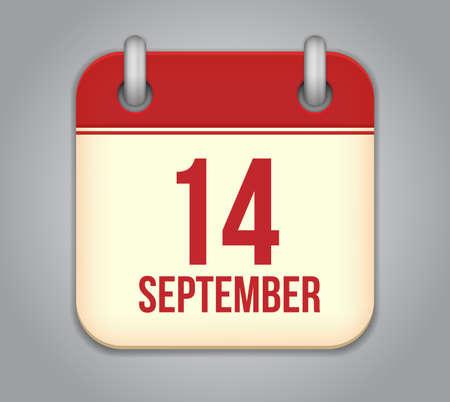 fourteenth: Vector calendar app icon. 14 september Illustration