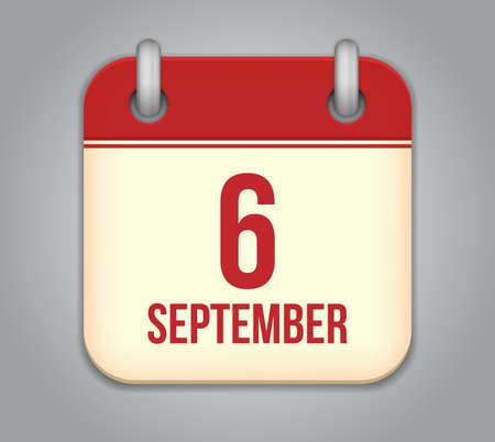 Vector calendar app icon. 6 september