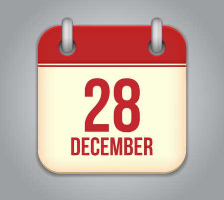Vector calendar app icon. 28 December
