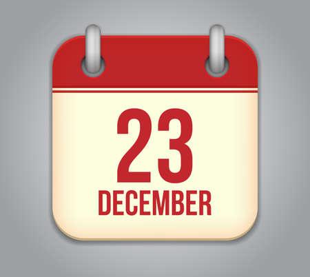 23: Vector calendar app icon. 23 December Illustration