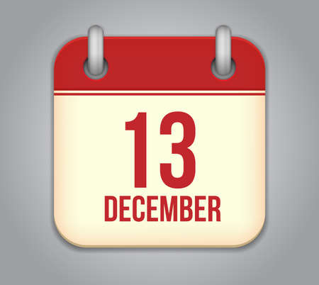 thirteen: Vector calendar app icon. 13 December
