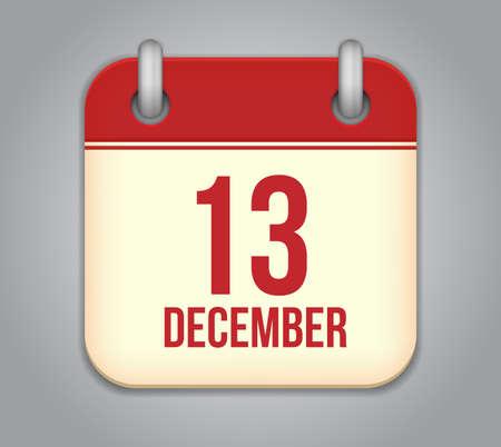 Vector calendar app icon. 13 December