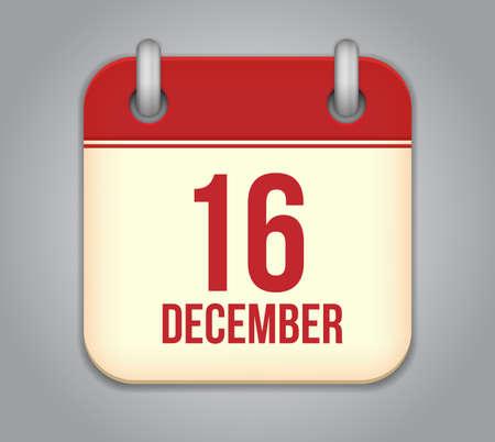 Vector calendar app icon. 16 December Vector