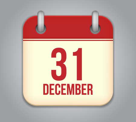 Vector calendar app icon. 31 December Vector
