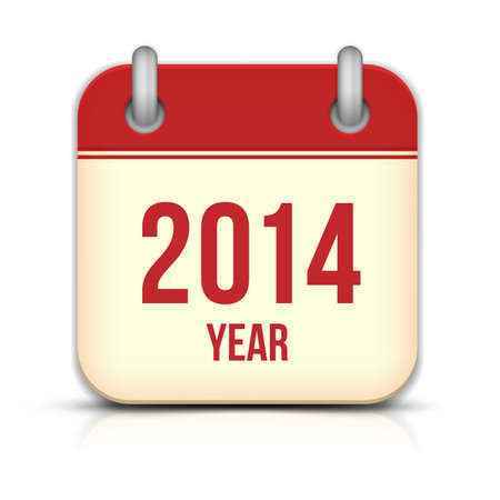 2014 Jaar Kalender App pictogram Met Reflectie Stock Illustratie