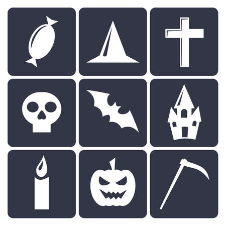 Halloween flat vector icons.  Vector